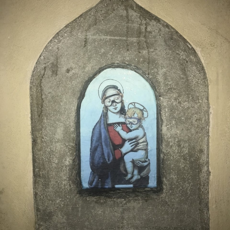 Madonna and Child by Blub, a local street artist in San Niccolò
