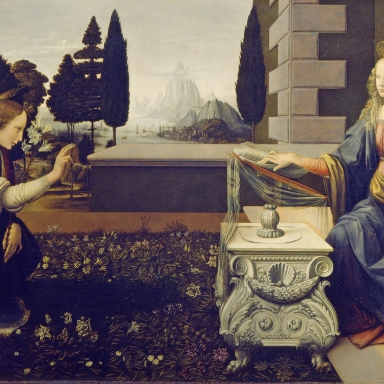 THE ANNUNCIATION AT THE UFFIZI GALLERY